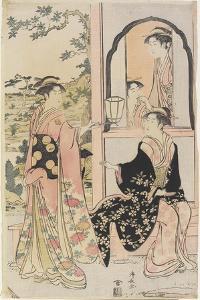 Four Women in Mitate as Ushiwaka Serenading Jo-Ruri-Hime, 1785 by Torii Kiyonaga