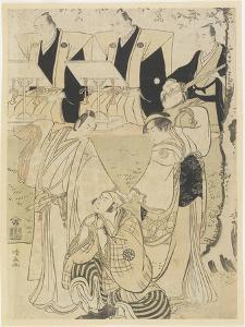 (Scene from a Kabuki Play with Musicians and Three Actors), 1781-1789 by Torii Kiyonaga