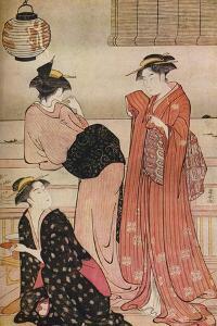'Three girls on the veranda of a tea-house overlooking Edo Bay at Shinagawa', c1752-1815 by Torii Kiyonaga