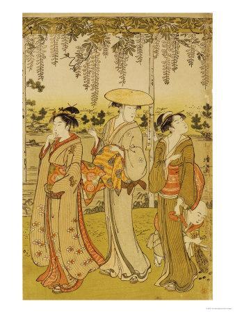 Three Women Viewing Wisteria at Kamedo