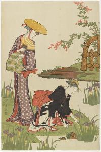 Women by an Iris Pond, 1785 by Torii Kiyonaga