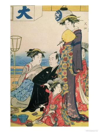 Women of the Gay Quarters, Right Hand Panel of a Diptych (Colour Woodblock Pring)