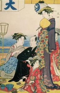 Women of the Gay Quarters, Right Hand Panel of a Diptych (Colour Woodblock Pring) by Torii Kiyonaga