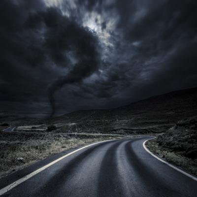 Tornado Near a Winding Road in the Mountains, Crete, Greece