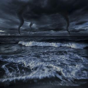 Tornados in a Rough Sea Against Stormy Clouds, Crete, Greece