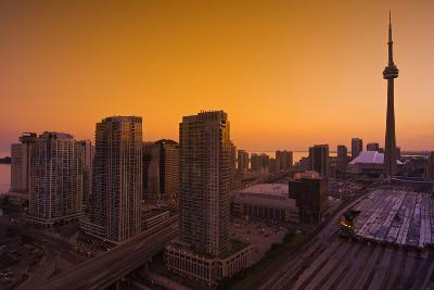 Toronto. City at Dusk with Cn Tower-Mike Grandmaison-Photographic Print