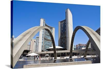 Toronto City Hall & Fountain--Stretched Canvas Print