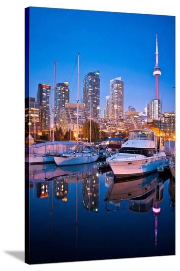 Toronto Harbor Area at Dusk--Stretched Canvas Print