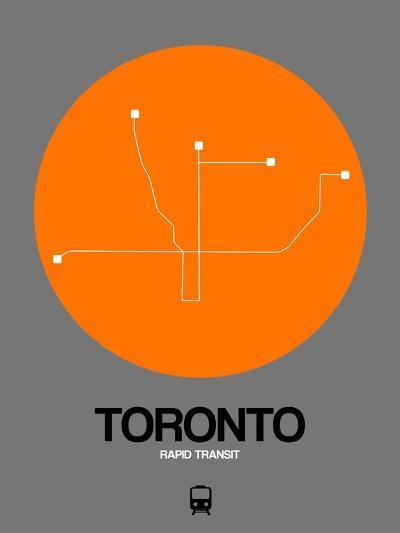 Toronto Orange Subway Map-NaxArt-Art Print