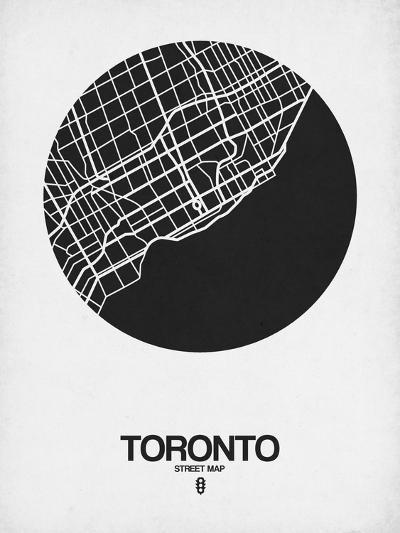 Toronto Street Map Black on White-NaxArt-Art Print