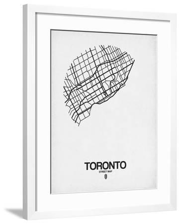 Toronto Street Map White-NaxArt-Framed Art Print