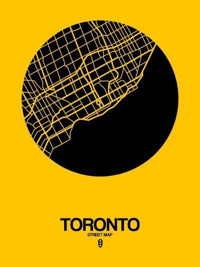 Toronto Street Map Yellow-NaxArt-Art Print