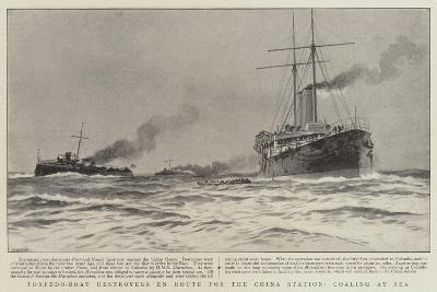 Torpedo-Boat Destroyers En Route for the China Station, Coaling at Sea--Giclee Print