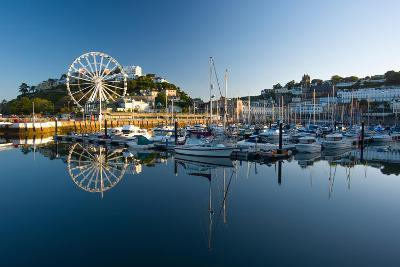 Torquay Harbour at Sunrise Reflection of Ferris Wheel and Boat Mast in Water June 2015 Devon UK-David Holbrook-Photographic Print