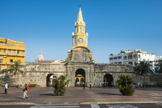 Torre del Reloj Publico (Public Clock Tower), UNESCO World Heritage Site, Cartagena, Colombia, Sout-Michael Runkel-Photographic Print