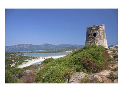 Torre di Porto Giunco Tower and Simius Beach near Villasimius, Sardinia, Italy--Art Print