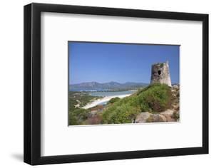 Torre di Porto Giunco Tower and Simius Beach near Villasimius, Sardinia, Italy