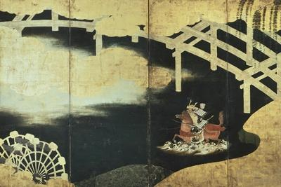 The Two Rival Generals, Sakasi Takatsuna and Kajiwara Kagesue, at the Battle of the Uji River