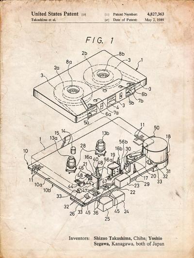 Toshiba Cassette Tape Recorder Patent-Cole Borders-Art Print