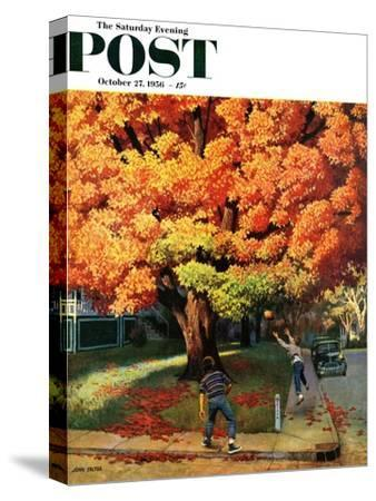 """Tossing the Football"" Saturday Evening Post Cover, October 27, 1956-John Falter-Stretched Canvas Print"