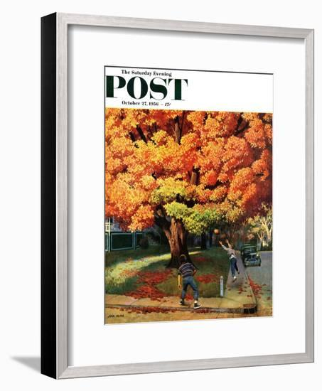 """Tossing the Football"" Saturday Evening Post Cover, October 27, 1956-John Falter-Framed Premium Giclee Print"