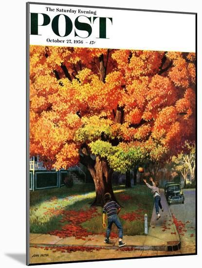 """""""Tossing the Football"""" Saturday Evening Post Cover, October 27, 1956-John Falter-Mounted Premium Giclee Print"""