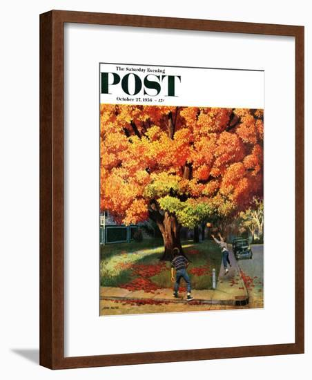 """Tossing the Football"" Saturday Evening Post Cover, October 27, 1956-John Falter-Framed Premium Giclee Print"