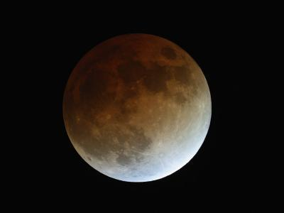Total Lunar Eclipse During Totality. the Center of the Umbra Is at the Upper Left-Guillermo Gonzalez-Photographic Print
