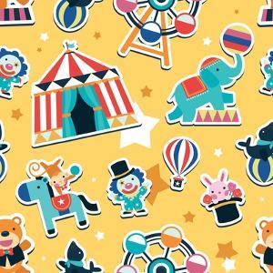 Circus Seamless Pattern, Animals and Entertainment Elements by Totallypic