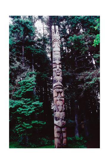 Totem Pole Belonging to the Yaadaas Clan of the Haida--Giclee Print