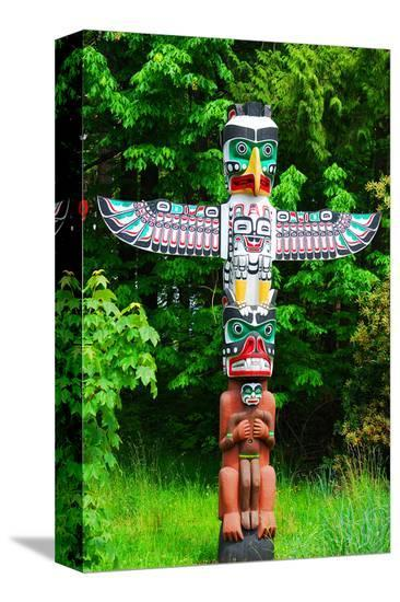 Totem Pole in Stanley Park--Stretched Canvas Print