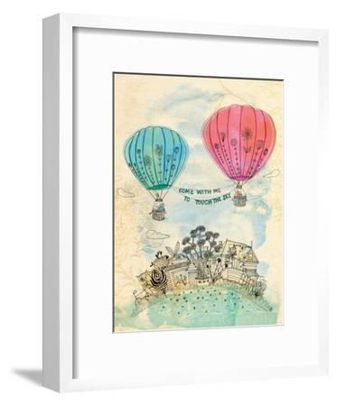 Touch The Sky Blue And Read-Paula Mills-Framed Art Print