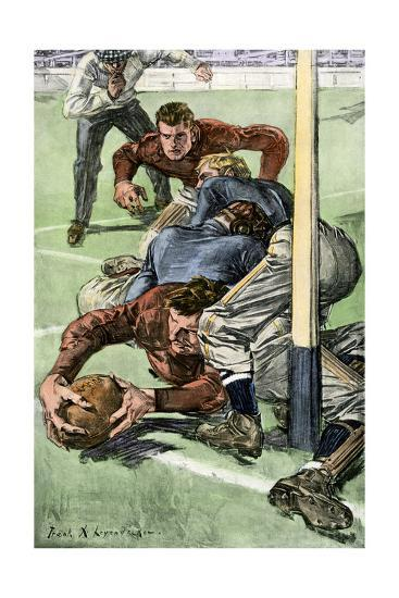 Touchdown Scored in a College Football Game, Early 1900s--Photographic Print