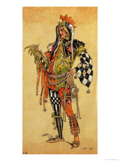 "Touchstone the Clown, Costume Design for ""As You Like It""-C. Wilhelm-Giclee Print"