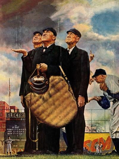 Tough Call - Bottom of the Sixth (Three Umpires), April 23, 1949-Norman Rockwell-Giclee Print