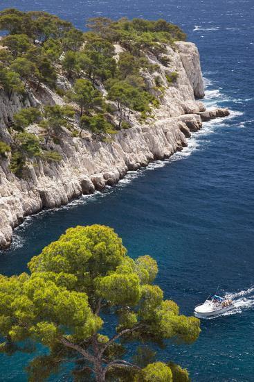 Tour Boat, Calanques Near Cassis, Bouches-Du-Rhone, Cote d'Azur, Provence, France-Brian Jannsen-Photographic Print
