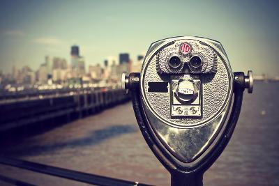 Tourist Binoculars at Liberty Island in Front of Manhattan Skyline, Vintage Style, New York City, U-AR Pictures-Photographic Print