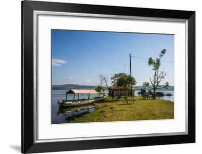 Tourist Boat Anchoring on a Little Island at the Source of the Nile-Michael-Framed Photographic Print