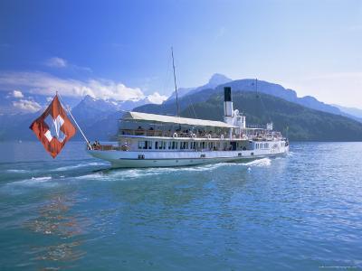 Tourist Boat Crossing the Lake, Lake Geneva (Lac Leman), Switzerland, Europe-Gavin Hellier-Photographic Print