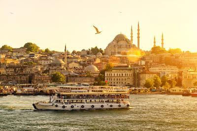Tourist Boat Floats on the Golden Horn in Istanbul at Sunset, Turkey-Viacheslav Lopatin-Photographic Print