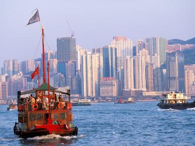 Tourist Boat in Hong Kong Harbor, Hong Kong, China-Paul Souders-Photographic Print