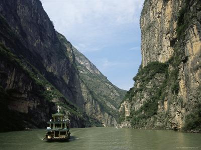 Tourist Boat in the Longmen Gorge, First of the Small Three Gorges, Yangtze Gorges, China-Tony Waltham-Photographic Print