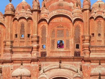 Tourist by Window of Hawa Mahal, Palace of Winds, Jaipur, Rajasthan, India-Keren Su-Photographic Print