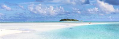 Tourist Couple on Sand Bar in Aitutaki Lagoon, Cook Islands-Matteo Colombo-Photographic Print