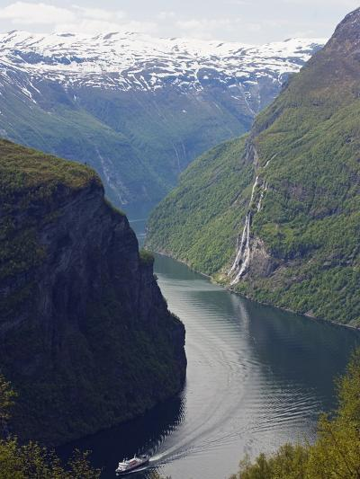 Tourist Cruise Ship on Geiranger Fjord, Western Fjords, Norway, Scandinavia, Europe-Christian Kober-Photographic Print
