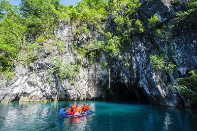 Tourist Entering on a Little Rowing Boat, Puerto Princessa Underground River, Palawan, Philippines-Michael Runkel-Photographic Print