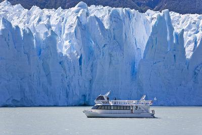 Tourist in a Boat Close to Perito Moreno Glacier Hope to Witness Calving-Mike Theiss-Photographic Print