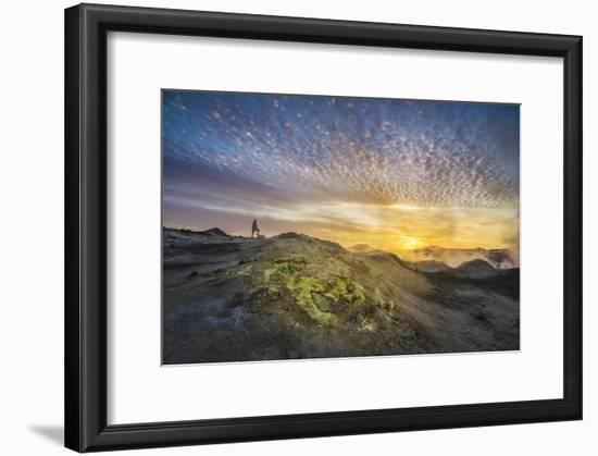 Tourist in Geothermal Landscape at Sunset, Iceland-Arctic-Images-Framed Photographic Print