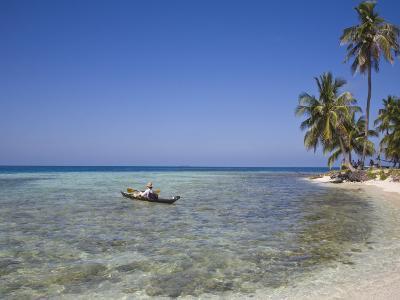 Tourist in Sea Cayak, Silk Caye, Belize, Central America-Jane Sweeney-Photographic Print