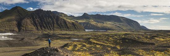 Tourist in Skaftafell National Park, South Region of Iceland (Sudurland), Iceland, Polar Regions-Matthew Williams-Ellis-Photographic Print